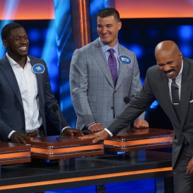 "CELEBRITY FAMILY FEUD - ""NFLPA Veterans vs. NFLPA Rookies and Wanda Sykes vs. Nia Vardalos"" - The celebrity teams competing to win cash for their charities feature the NFLPA Veterans led by the Tampa Bay Buccaneers' Gerald McCoy and the NFLPA Rookies led by the Chicago Bears' Mitch Trubisky. In a separate game, family members of comedian and actress Wanda Sykes (""black-ish"") and actress Nia Vardalos (""My Big Fat Greek Wedding"") will compete on an all-new episode of ""Celebrity Family Feud,"" SUNDAY, SEPT. 16 (8:00-9:00 p.m. EDT), on The ABC Television Network. (ABC/Byron Cohen) TRE'DAVIOUS WHITE, MITCH TRUBISKY, STEVE HARVEY"