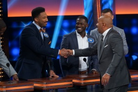 "CELEBRITY FAMILY FEUD - ""NFLPA Veterans vs. NFLPA Rookies and Wanda Sykes vs. Nia Vardalos"" - The celebrity teams competing to win cash for their charities feature the NFLPA Veterans led by the Tampa Bay Buccaneers' Gerald McCoy and the NFLPA Rookies led by the Chicago Bears' Mitch Trubisky. In a separate game, family members of comedian and actress Wanda Sykes (""black-ish"") and actress Nia Vardalos (""My Big Fat Greek Wedding"") will compete on an all-new episode of ""Celebrity Family Feud,"" SUNDAY, SEPT. 16 (8:00-9:00 p.m. EDT), on The ABC Television Network. (ABC/Byron Cohen) MYLES GARRETT, TRE'DAVIOUS WHITE, MITCH TRUBISKY, STEVE HARVEY"