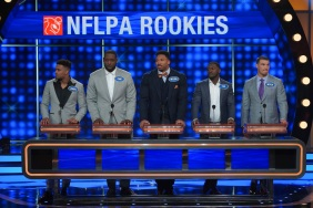 "CELEBRITY FAMILY FEUD - ""NFLPA Veterans vs. NFLPA Rookies and Wanda Sykes vs. Nia Vardalos"" - The celebrity teams competing to win cash for their charities feature the NFLPA Veterans led by the Tampa Bay Buccaneers' Gerald McCoy and the NFLPA Rookies led by the Chicago Bears' Mitch Trubisky. In a separate game, family members of comedian and actress Wanda Sykes (""black-ish"") and actress Nia Vardalos (""My Big Fat Greek Wedding"") will compete on an all-new episode of ""Celebrity Family Feud,"" SUNDAY, SEPT. 16 (8:00-9:00 p.m. EDT), on The ABC Television Network. (ABC/Byron Cohen) JAMAL ADAMS, CAM ROBINSON, MYLES GARRETT, TRE'DAVIOUS WHITE, MITCH TRUBISKY"