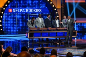 "CELEBRITY FAMILY FEUD - ""NFLPA Veterans vs. NFLPA Rookies and Wanda Sykes vs. Nia Vardalos"" - The celebrity teams competing to win cash for their charities feature the NFLPA Veterans led by the Tampa Bay Buccaneers' Gerald McCoy and the NFLPA Rookies led by the Chicago Bears' Mitch Trubisky. In a separate game, family members of comedian and actress Wanda Sykes (""black-ish"") and actress Nia Vardalos (""My Big Fat Greek Wedding"") will compete on an all-new episode of ""Celebrity Family Feud,"" SUNDAY, SEPT. 16 (8:00-9:00 p.m. EDT), on The ABC Television Network. (ABC/Byron Cohen) JAMAL ADAMS, CAM ROBINSON, MYLES GARRETT, TRE'DAVIOUS WHITE, MITCH TRUBISKY, STEVE HARVEY"